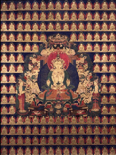 The Buddha of Immeasurable Life Amitayus, Tibet; 17th century, Pigments on cloth, (HAR 65106)