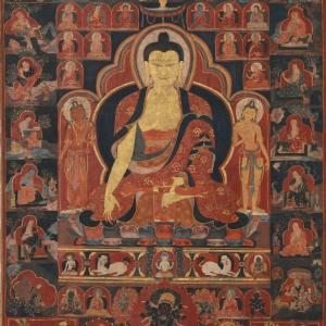 Buddha Shakyamuni with Sixteen Arhats
