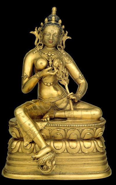 Goddess of the Dawn, Marichi (Sanskrit), Mongolia; late 17th century, Workshop of Zanabazar (1635–1723), Gilt copper alloy, C2005.16.26 (HAR 65449)