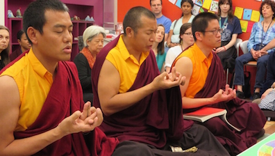 During their final ritual, the monks make many mudras, or symbolic hand gestures. This particular mudra is meant to symbolize a three dimensional mandala.