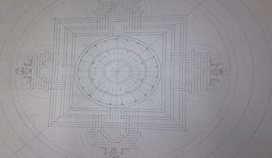 Before any sand was poured, the monks carefully drew out the mandala using rulers and compasses.