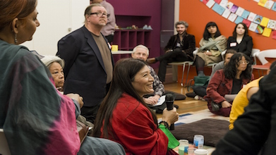 Tashi Chodron, Coordinator of Adult and Academic Programs, led a Q&A session with the monks.