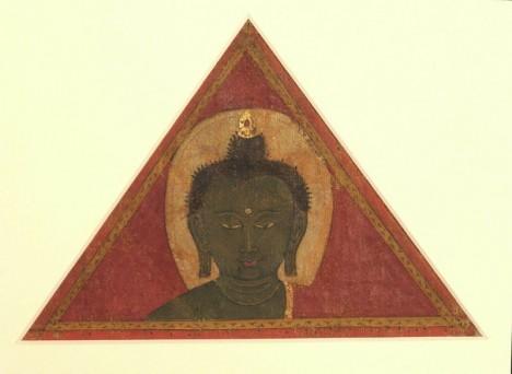 Buddha Amoghasiddhi (fragment, decorative banner) Tibet; 15th century Pigments on cloth Rubin Museum of Art C2006.46.1