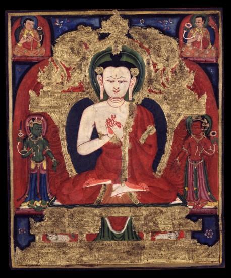 Buddha Vairochana Tibet; 14th century Pigments on cotton Rubin Museum of Art Gift of Shelley & Donald Rubin Foundation F1998.3.6