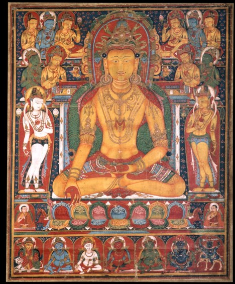 Buddha Ratnasambhava with Wealth Deities Tibet; early to mid-14th century Pigments on cloth Rubin Museum of Art C2005.16.39